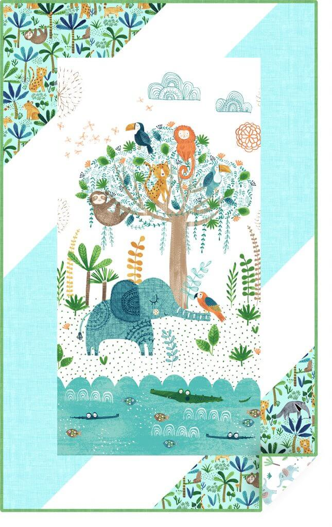 "A charming baby quilt from Clothworks featuring Jungle Fever by Rebecca Jones 34"" x 55"". This digital quilt showcases fabric that will ship in April 2018. www.clothworks.com"